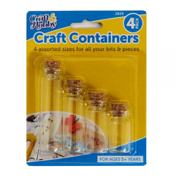 Mini Art and Craft Bottles with Cork Stopper, 4 Sizes