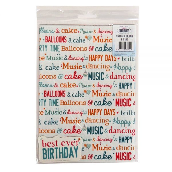 Little Thoughts Birthday Gift Wrap Paper, 2 Sheets