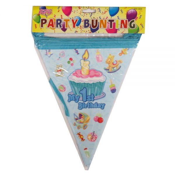 My 1st Birthday Long Party Hanging Bunting, Blue