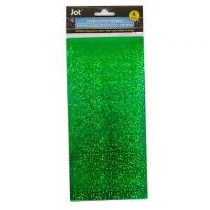 Greenbrier Poster Letter Stickers, Holographic Green, 40 Pack