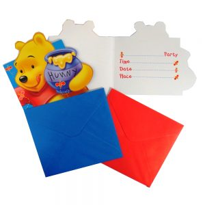 Winnie the Pooh Party Invitation Cards and Envelopes, Pack of 6