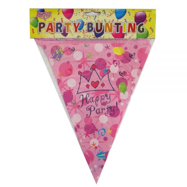 My Birthday Party Hanging Bunting, Pink Crown