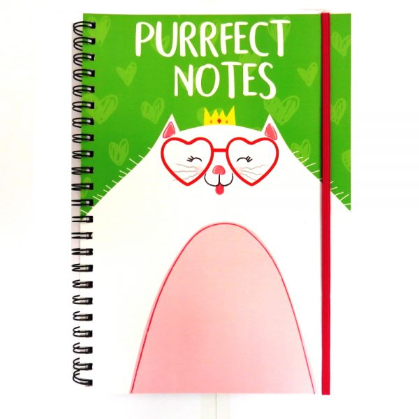 A4 Purrfect Pet Notebook with Closure - Purrfect Notes, 200 Pages