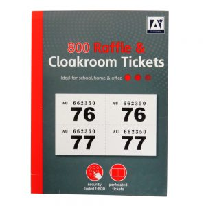 Cloakroom and Raffle Ticket Book - Numbered 1 - 800