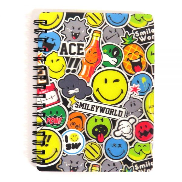 Smiley Super 3D Moving Cover A6 Wirebound Notebook - Stickers