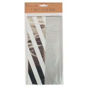 Metallic Foiled Tissue Paper Silver Stripes