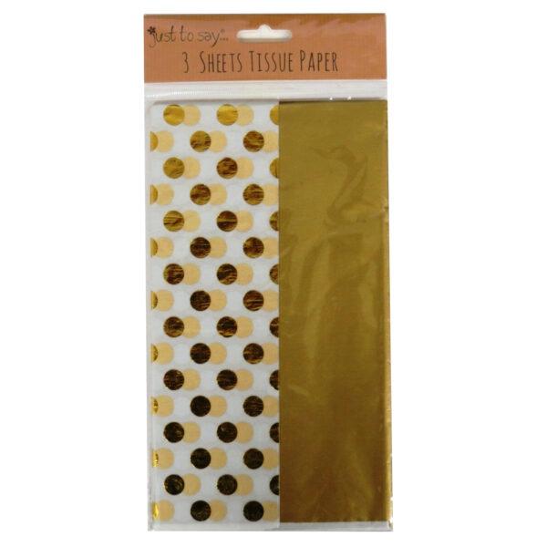 Metallic Foiled Tissue Paper Gold Polka Dot