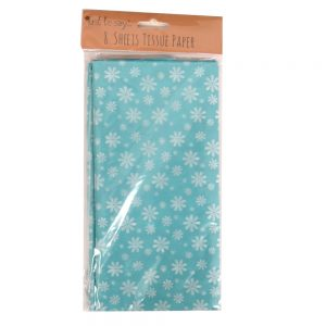 Printed Tissue Paper Green Flowers