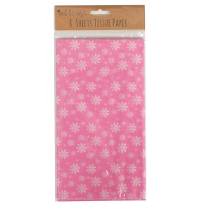 Printed Tissue Paper Pink Flowers