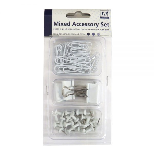 Mixed Stationery Accessory Desk Set White