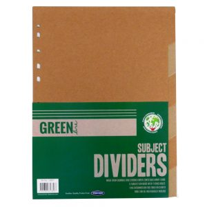 Green Line Enviromentally Friendly Subject Card Dividers 6 Part