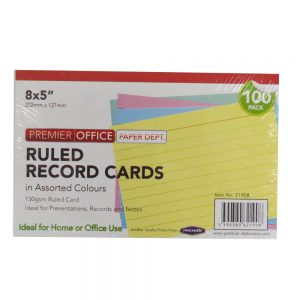 Premier Office Record Cards Mixed Colours 8 x 5