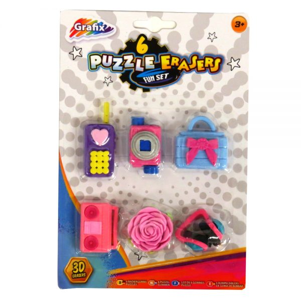 Grafix 3D Puzzle Erasers Girls Accessories