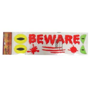 Halloween Window Gel Stickers Beware, Scary Eyes and Splats