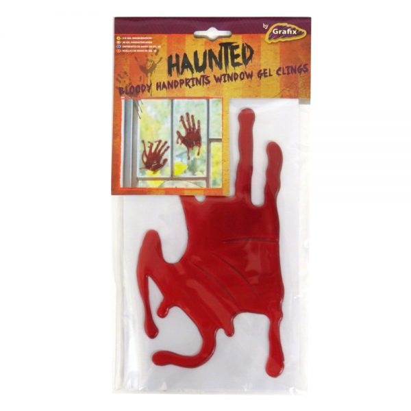 Halloween Blood Hand Prints Window Gel Cling Stickers