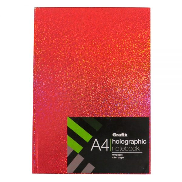 Grafix A4 Holographic Speckle Notebook Red