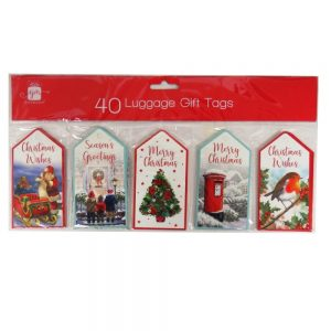 Christmas Luggage Gift Tags Traditional