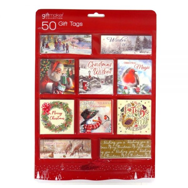 Christmas Traditional Gift Tags Pack of 50