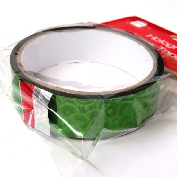 Christmas Holographic Gift Tape Green