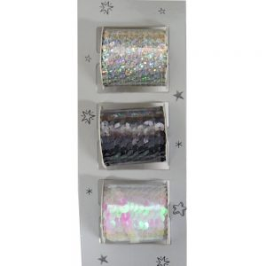 Christmas Wrapping Sequin Ribbon Reels  - White, Silver and Grey