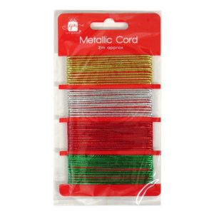 Christmas Metallic Gift Wrapping Cord - Gold, Silver, Red, Green