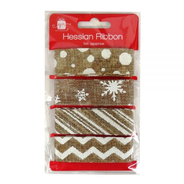 Christmas Hessian Gift Wrapping Ribbon