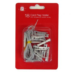 Christmas Card Holder Pegs 18 Pack Silver