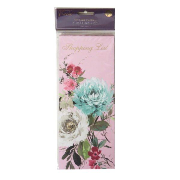 Magnetic Shopping List Vintage Floral Front