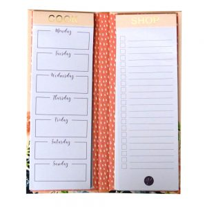 Meal Planner and Shopping List Notepad, Design by Violet, Midnight Blues