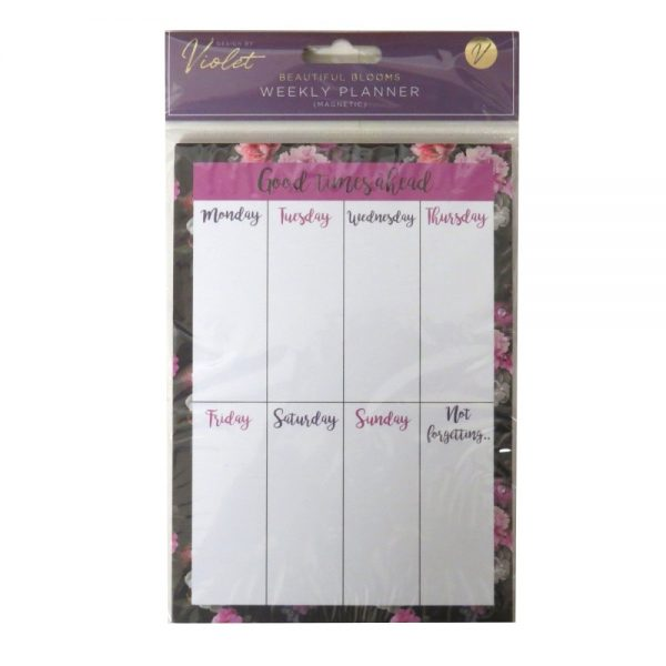 Magnetic Weekly Planner Beautiful Blooms Front