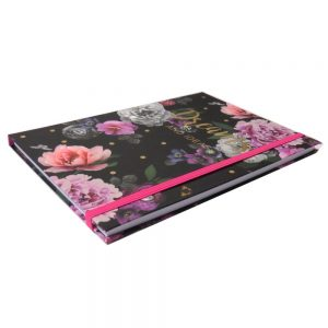 A5 Notebook with Elastic Closure, Design by Violet, Beautiful Blooms