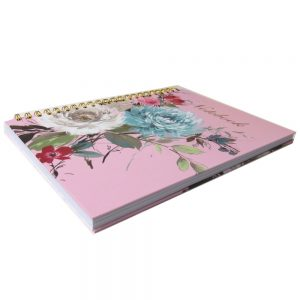 A4 Gold Wirebound Notebook, Design by Violet, Vintage Floral