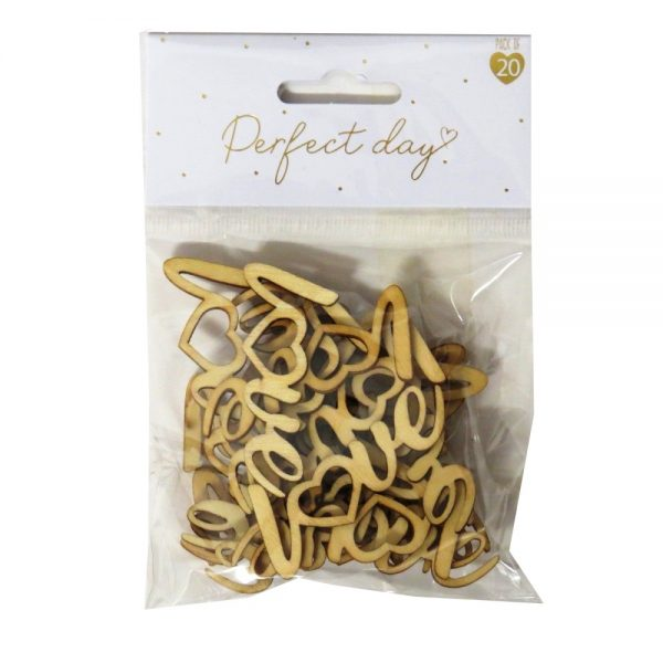 Wedding Day Wooden Table Confetti Love Front