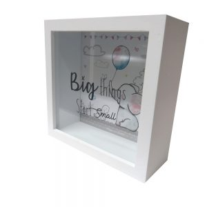 Baby Wooden Money Box Big Things Start Small Front
