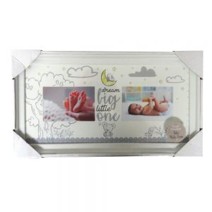 Baby Double 2 Section Photo Frame Front