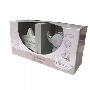 Baby Wooden Book Ends Front