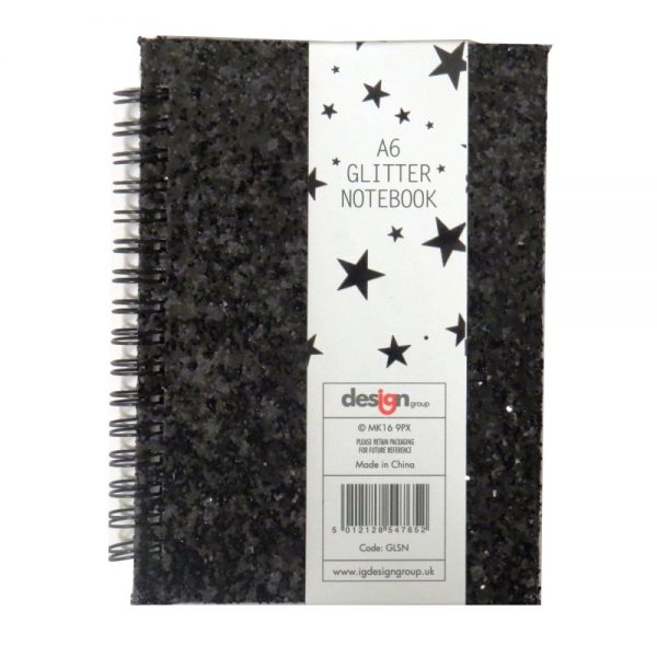 A6 Glitter Glamour Notebook Front