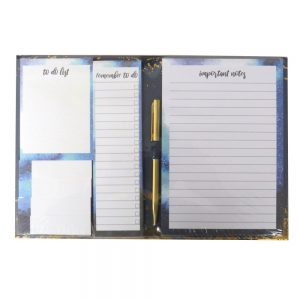 Boarded List Notepad with Pen Opulent Geo Front