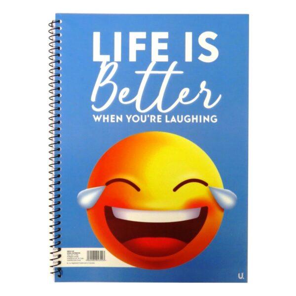 A4 EMOJI SPIRAL NOTEBOOK - LAUGHING