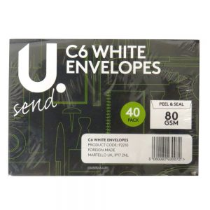 C6 WHITE PLAIN ENVELOPES - PACK 0F 40