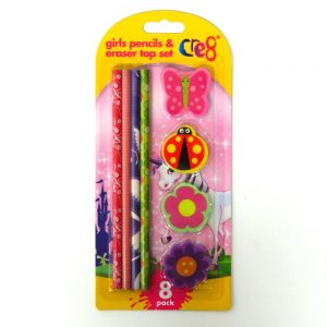 GIRLS PENCILS AND ERASER TOP SET