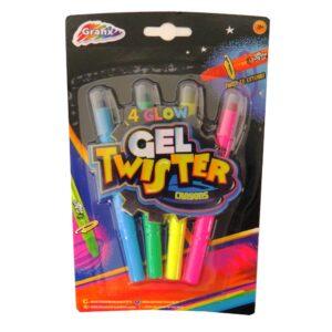 Grafix Glow Gel Twister Crayons - Pack of 4