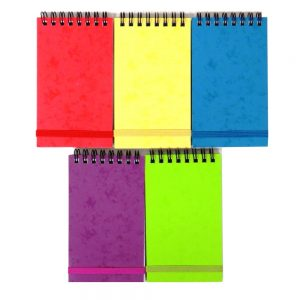 Flip Over Mini Notebbok With Straps Bright Colours Pack of 5 Front