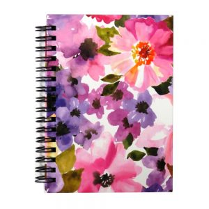 I Love Stationery A6 Wiro Notebook Watercolour Flowers Front