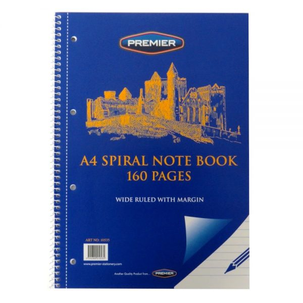 Premier A4 Wirebound Notebook 4 Holes, Perforated Front