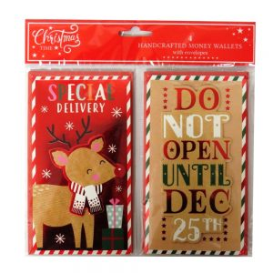 Christmas Time Handcrafted Money Wallets Reindeer Do Not Open