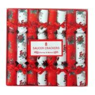Harvey & Mason Breakfast Saucer Crackers Red and White Mistletoe Christmas Front