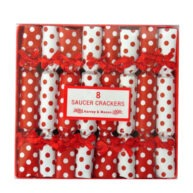 Harvey & Mason Breakfast Saucer Crackers Red and White Polka Christmas