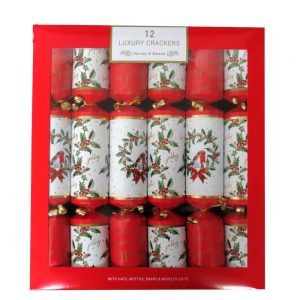 Harvey & Mason Luxury Christmas Crackers Robin and Wreath Front