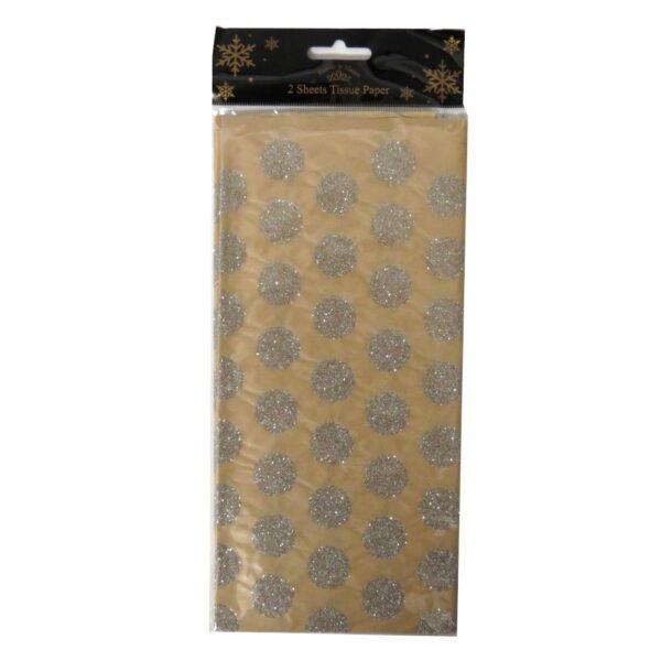Harvey & Mason Christmas Craft Tissue Paper Glitter Silver Circle
